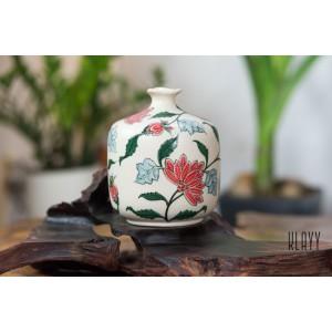 Red Flower Triangle Vase